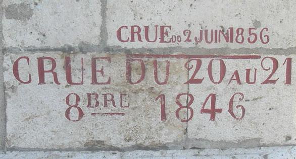 Repère de la crue de la Loire de 1856