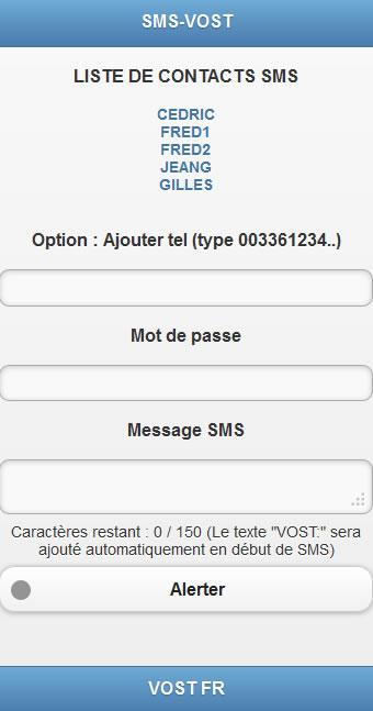 Aperçu SMS-VOST