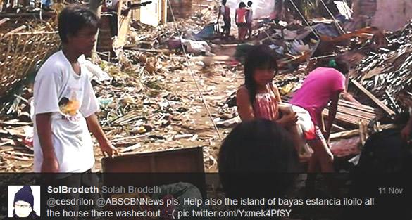 Bayas Island devasted by the typhoon Yolanda.