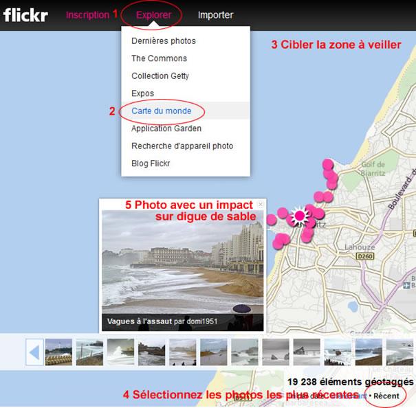 Interface de recherche FlickR et impacts localisés