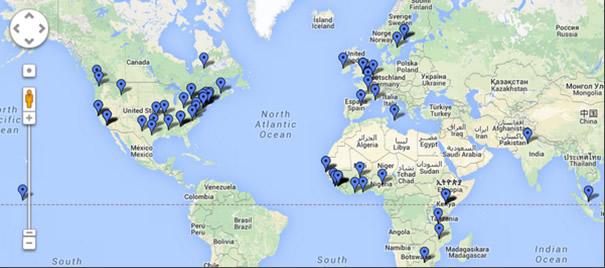 Carte des participants à un chat sur Ebola